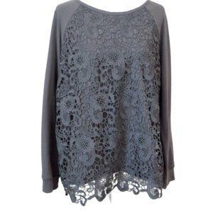 Adrianna Papell Raglan Sweatshirt Lace Overlay